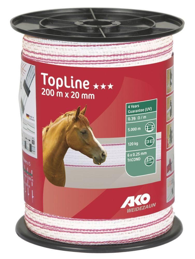 TopLine Weidezaunband 20 mm, 200 m Rolle, weiß/pink