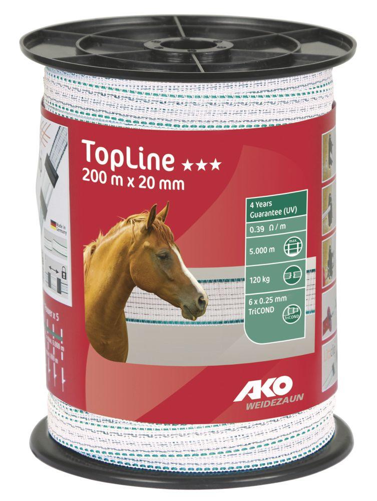 TopLine Weidezaunband 20 mm, 200 m Rolle, weiß/ petrol