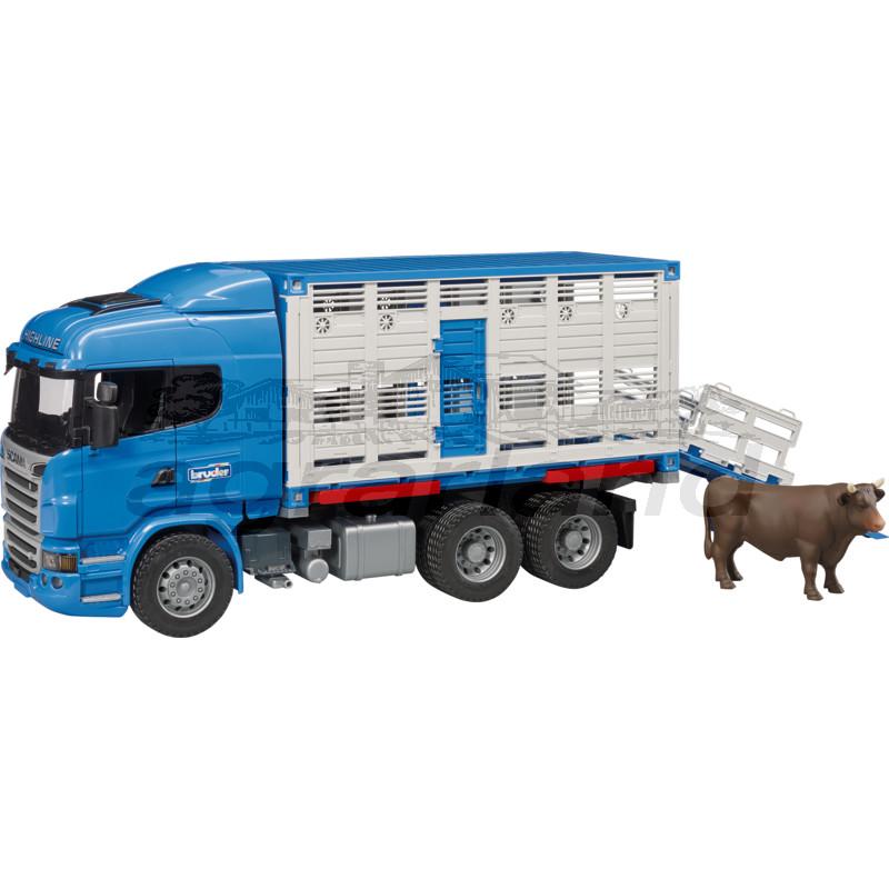 Bruder Tiertransport-LKW mit 1 Rind Scania R-Serie