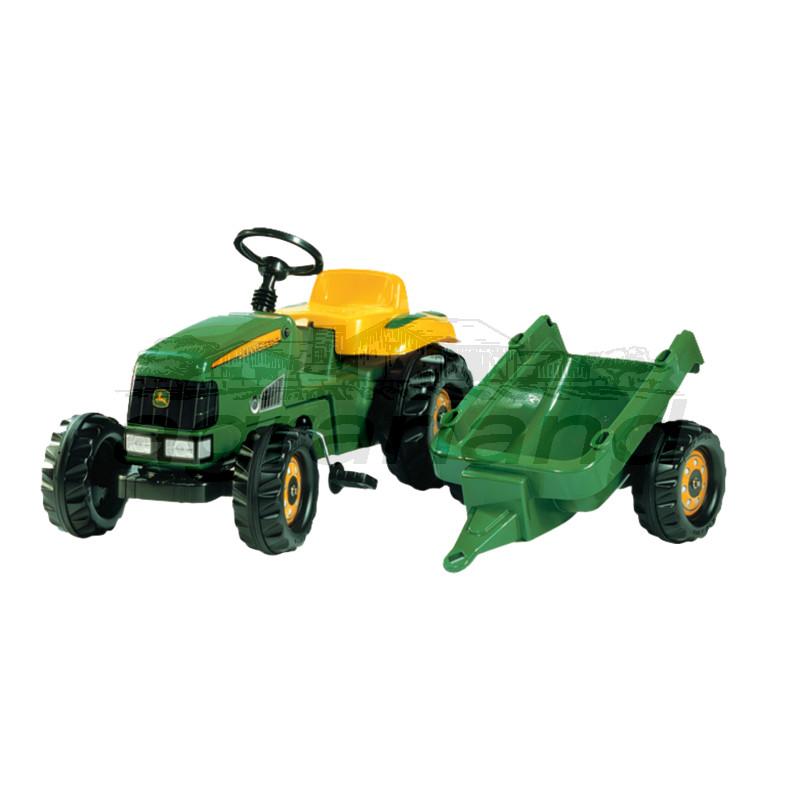 rollyKid John Deere Trettraktor mit Anhänger Rolly Toys