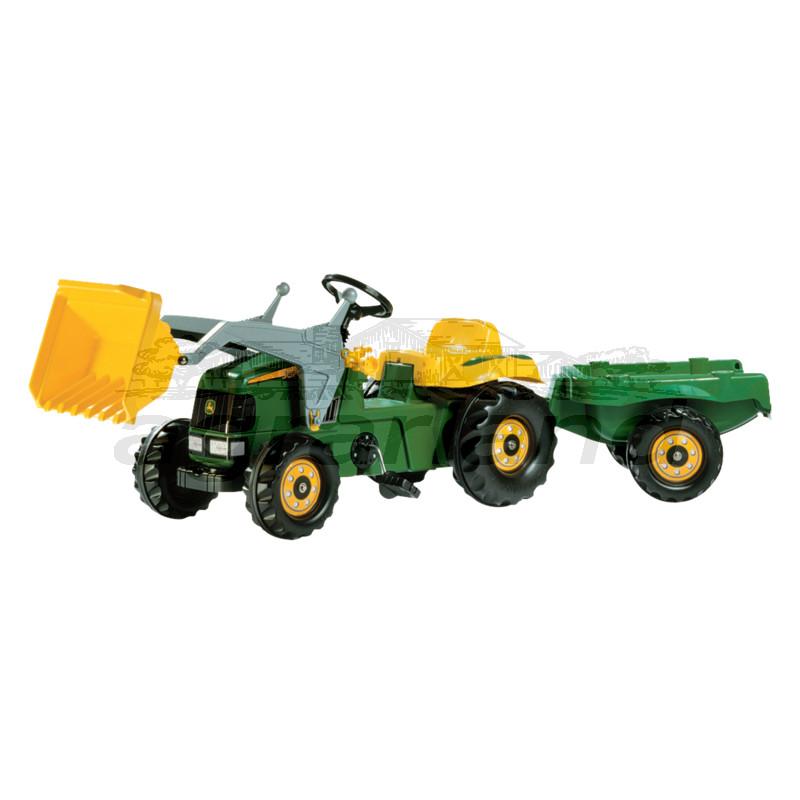 rollyKid John Deere Trettraktor mit Frontlader und Anhänger Rolly Toys