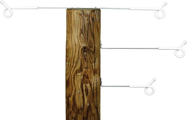 Abstandhalter mit Ösenisolator, 80 cm zum Annageln (5 Stück / Bund)