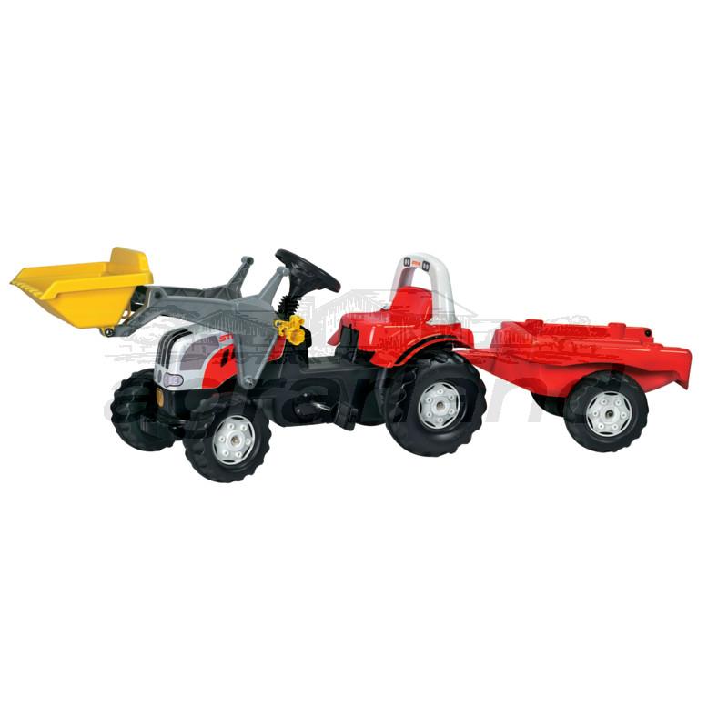 rollyKid Steyr CVT 6165 Trettraktor mit Frontlader und Anhänger Rolly Toys